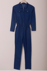 Turn-Down Collar Half Zippered Long Sleeve Denim Jumpsuit