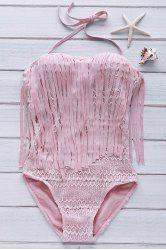 Women's Sexy Halter Hollow Out Lace Tassles One Piece Swimwear -