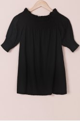 Trendy Solid Color Off-The-Shoulder 3/4 Sleeve Blouse For Women