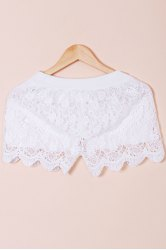 Hook Flower Hollow Out Solid Color Scalloped Shorts - WHITE