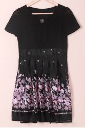 Elegant Peter Pan Collar Short Sleeve Floral Print Chiffon Dress For Women - BLACK AND PINK