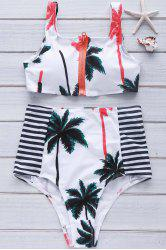 High Waist Zipper Palm Tree Print Bikini Set - WHITE