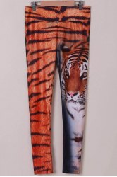 Chic Tiger Print High Stretchy Leggings For Women - TIGER PRINT