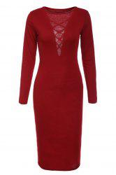 Attractive Solid Color Hollow Out Plunging Neck Bodycon Long Sleeve Dress For Women -