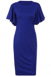 Graceful Jewel Neck Solid Color papillon moulante à manches Robe Midi pour les femmes - Bleu