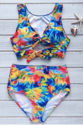 Sexy Plunging Neck Floral Print High-Waisted Women's Tropical Bathing Suit - COLORMIX S
