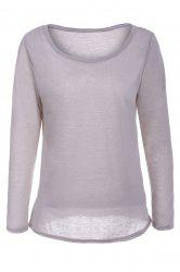 Casual Scoop Neck Long Sleeve Solid Color Loose T-Shirt For Women -