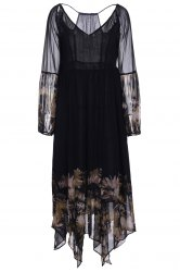 Bohemian plongeant cou à manches longues See-Through Floral Print Dress -