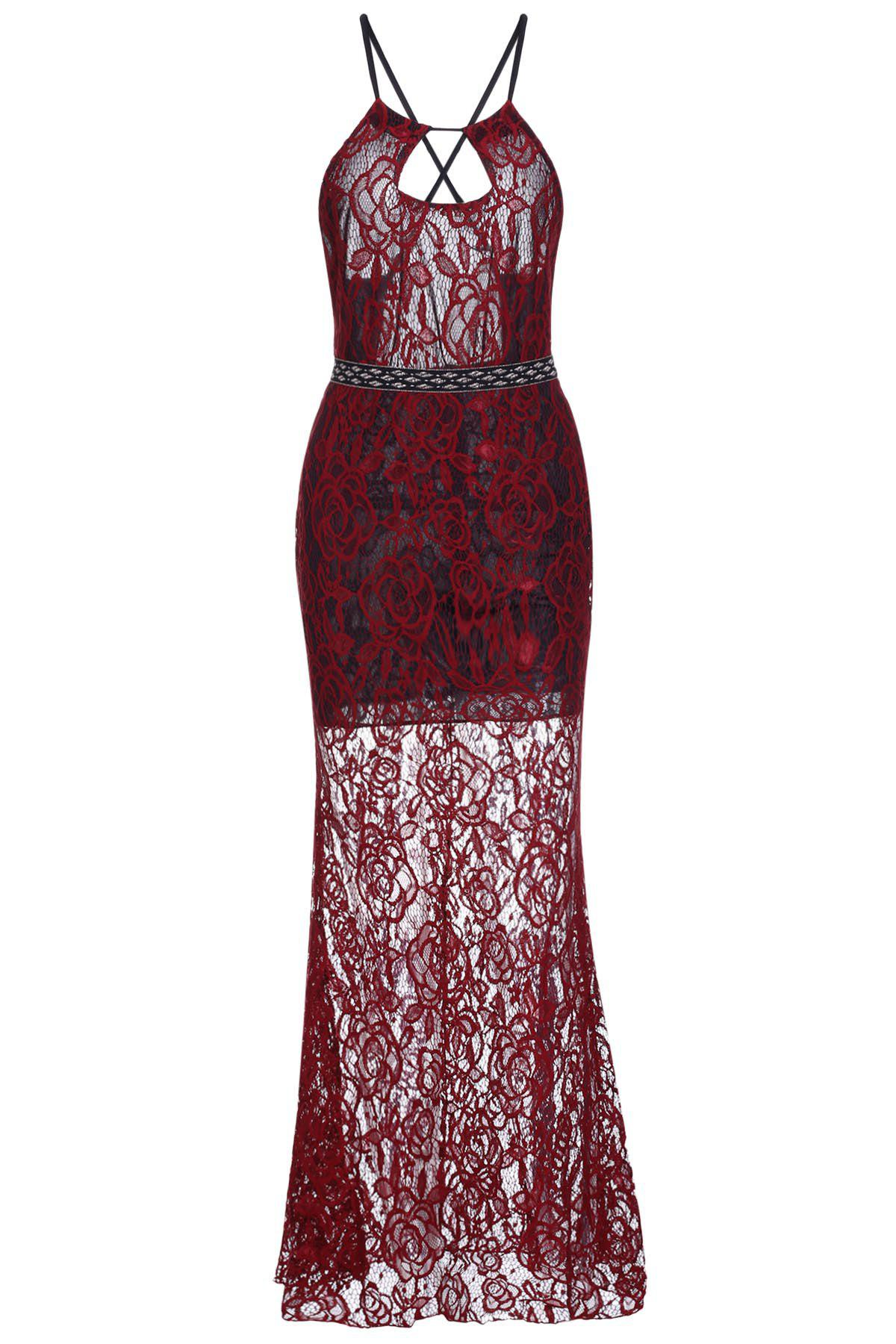 Best Sheer Backless Fitted Lace Maxi Prom Dress