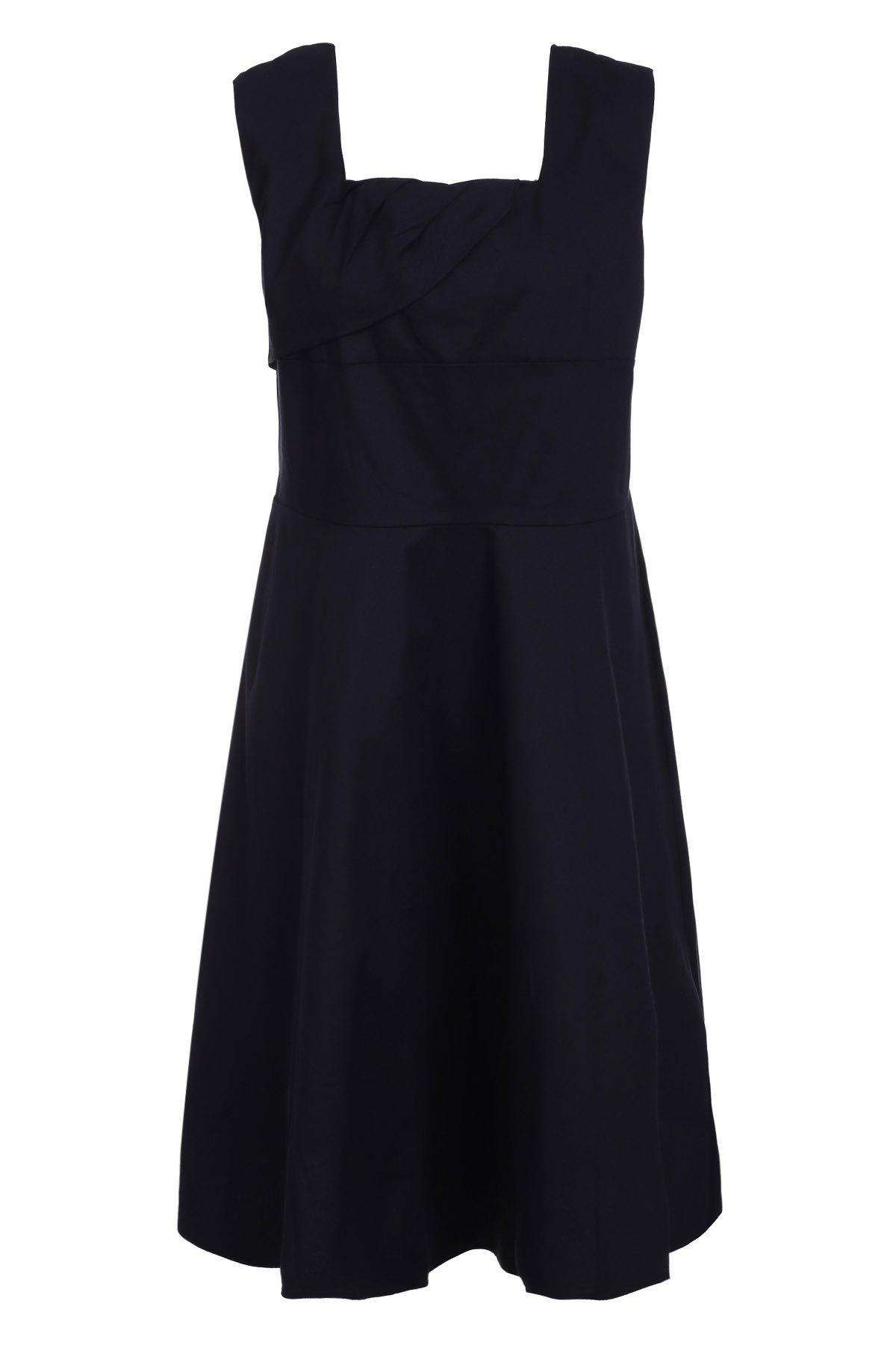 Retro Style Square Neck Sleeveless Solid Color Ball Gown Dress Women S