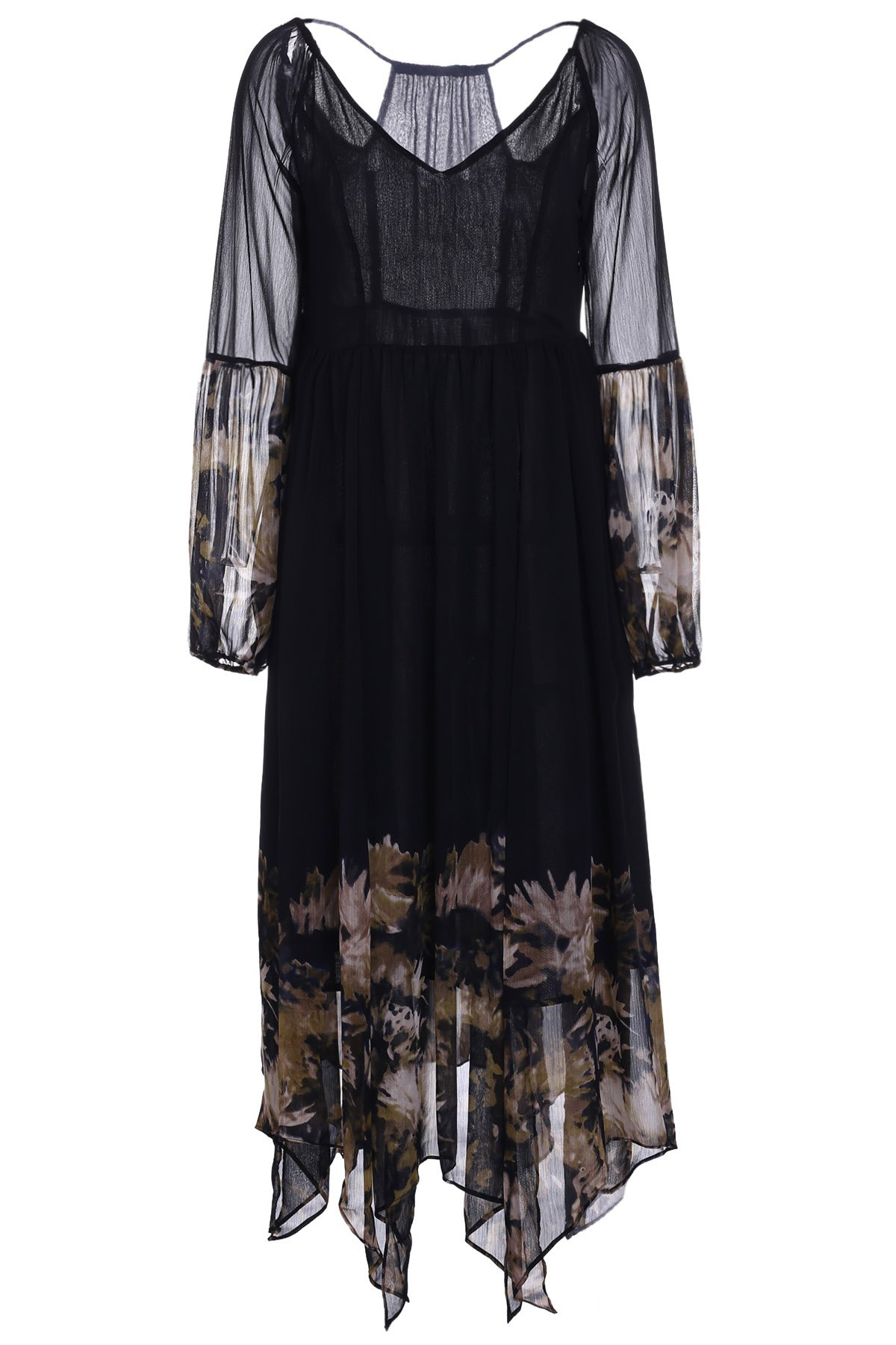 Bohemian plongeant cou à manches longues See-Through Floral Print Dress