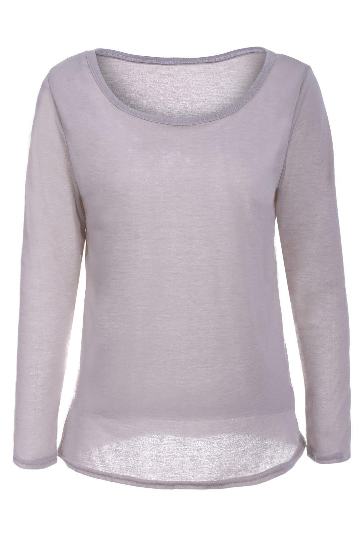 Store Casual Scoop Neck Long Sleeve Solid Color Loose T-Shirt For Women