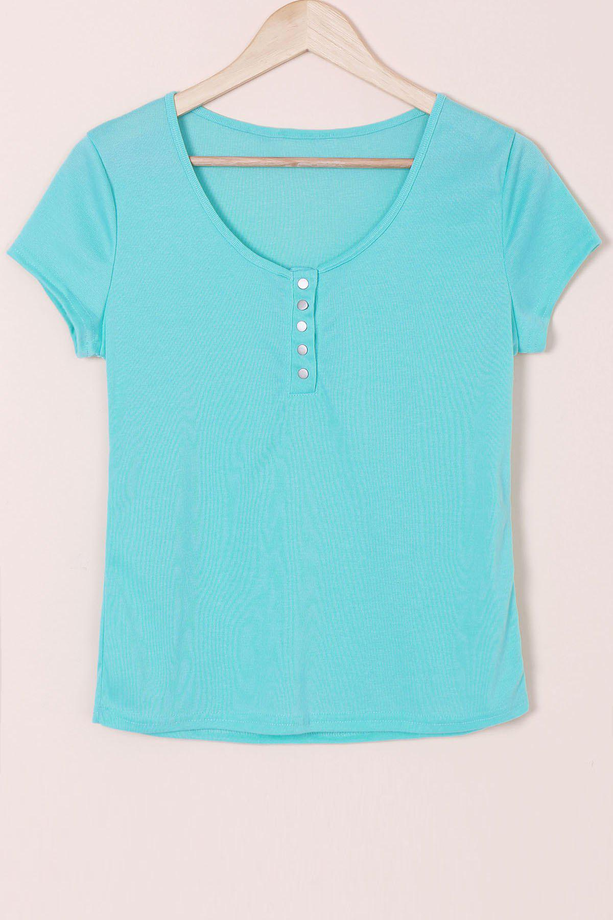 Scoop Neck Short Sleeve Solid Color Slimming T Shirt 172376620