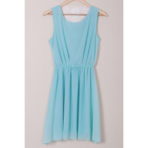 Stylish Scoop Neck Sleeveless Lace Spliced Chiffon Women's Dress -