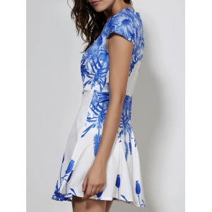 Cap Sleeve Mini A Line Floral Dress - WHITE L