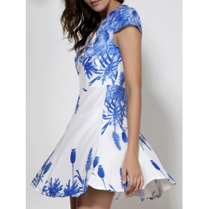 Fashionable Plunging Neck Blue Floral Print Short Sleeve Dress For Women - WHITE XL