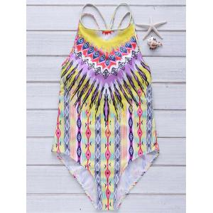 Printed High Neck Strappy One Piece Swimsuit