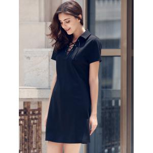 Lace-Up Short Sleeve Polo T-shirt Casual Dress - BLACK M