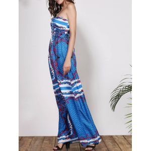 Strapless Bandeau Printed Chiffon Dress - BLUE M