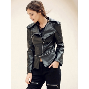 Fashionable Turn-Down Collar Zippered Long Sleeve PU Leather Jacket For Women - BLACK XL