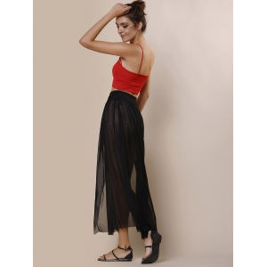Stylish Low-Waisted Solid Color High Slit Skirt for Women -