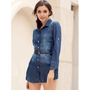 Denim Button Up Mini Shirt Dress with Pockets - BLUE S