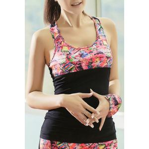 U Neck Cut Out Printed Running Vest -