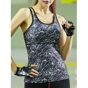 Dual Strap Quick-Drying Printed Running Gym Vest