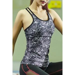 Dual Strap Quick-Drying Printed Running Gym Vest -