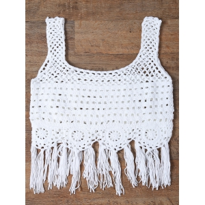 Cut Out Fringed Women's Tank Top