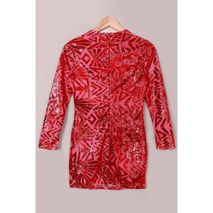 Short Sequin Glitter Club Dress with Sleeves - RED S