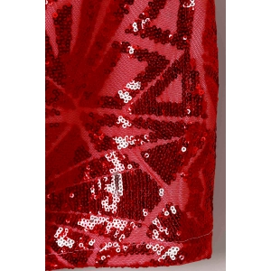 Short Sequin Glitter Club Dress with Sleeves - RED XL