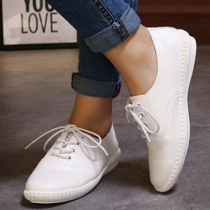 Simple Lace-Up and Solid Colour Design Athletic Shoes For Women - WHITE 36