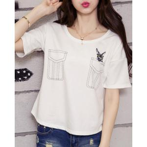 Faux Pocket Embroidered Graphic Tee -