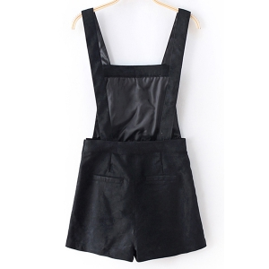 Casual Square Collar High Waist Solid Color Romper For Women -
