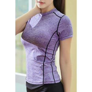 Graphic Short Sleeves Workout Gym Running T-Shirt - PURPLE XL