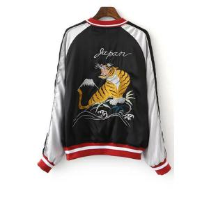 Chic Stand Neck Embroidered Reversible Women's Baseball Jacket -