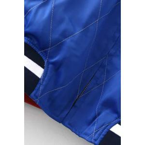 Chic Stand Neck Embroidered Reversible Women's Baseball Jacket - BLUE/BLACK L
