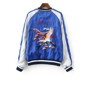 Chic Stand Neck Embroidered Reversible Women's Baseball Jacket - BLUE/BLACK XL