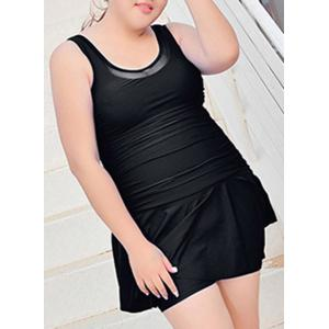 Plus Size Scoop Neck Swimsuit with Skirt -