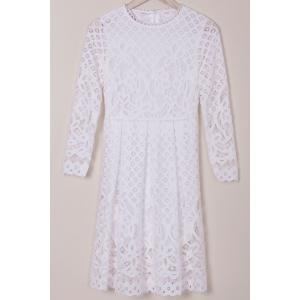 Long Sleeve Hollow Out Lace Summer Wedding Tea Length Dress