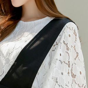 Sweet Flare Sleeve Lace Blouse and Black Suspender Skirt Women's Twinset -