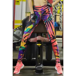 Stylish Elastic Waist Colorful Printed Stretch Sport Pants For Women - Colormix - Xl