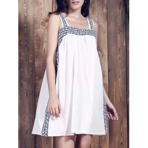 Brief Spaghetti Strap Print Summer Dress For Women - White - Xl