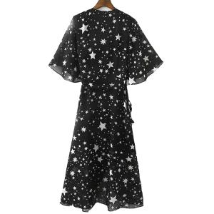Graceful V Neck Half Sleeve See-Through All-Over Stars Print High Slit Dress For Women -