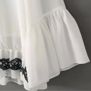 Graceful V Neck Flare Sleeve Embroidered Chiffon Blouse For Women -