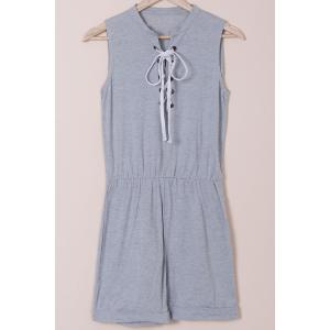 Casual Style Jewel Neck Sleeveless Gray Lace-Up Women's Romper
