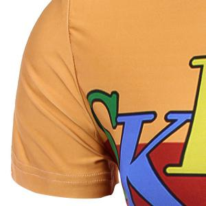 Round Neck Letter and Cartoon 3D Print Pattern Short Sleeve T-Shirt For Men -