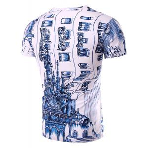 Casual Round Neck 3D Abstrat Print Short Sleeve T-Shirt For Men - WHITE M