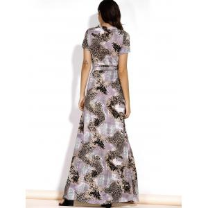 Chic V-Neck Short Sleeve Leopard Print Spliced Belted Maxi Dress For Women -